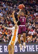 Colgate guard Jordan Burns takes a 3-point shot during a game against the University of Tennessee in the first round of the NCAA Tournament at the Nationwide Arena, March 22, 2019 in Columbus, OH. Tennessee won 77-70.<br /> [Mark DiOrio / Colgate University]