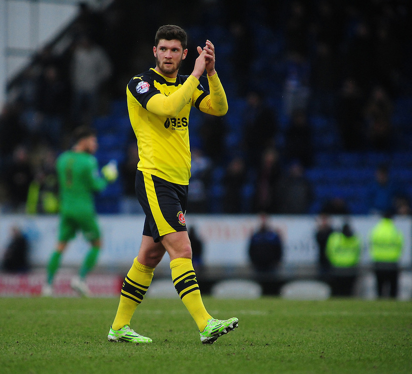 Fleetwood Town's Stewart Murdoch applauds the fans at the end of the game<br /> <br /> Photographer Chris Vaughan/CameraSport<br /> <br /> Football - The Football League Sky Bet League One - Chesterfield v Fleetwood Town - Saturday 28th February 2015 - Proact Stadium - Chesterfield<br /> <br /> © CameraSport - 43 Linden Ave. Countesthorpe. Leicester. England. LE8 5PG - Tel: +44 (0) 116 277 4147 - admin@camerasport.com - www.camerasport.com