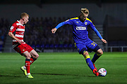 AFC Wimbledon striker Joe Pigott (39) dribbling during the EFL Sky Bet League 1 match between AFC Wimbledon and Doncaster Rovers at Plough Lane, London, United Kingdom on 3 November 2020. The first League match at the new stadium.