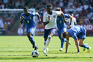 Arvin Appiah of England races away from the defenders during the UEFA European Under 17 Championship 2018 match between England and Italy at the Banks's Stadium, Walsall, England on 7 May 2018. Picture by Mick Haynes.