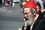 Orthodox man in Purim costume Photographed in Bnei Brak, Israel