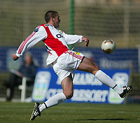 Fotball, La Manga, Spania. 23. februar 2002.Lillestrøm-AIK.  Clayton Zane, Lillestrøm.