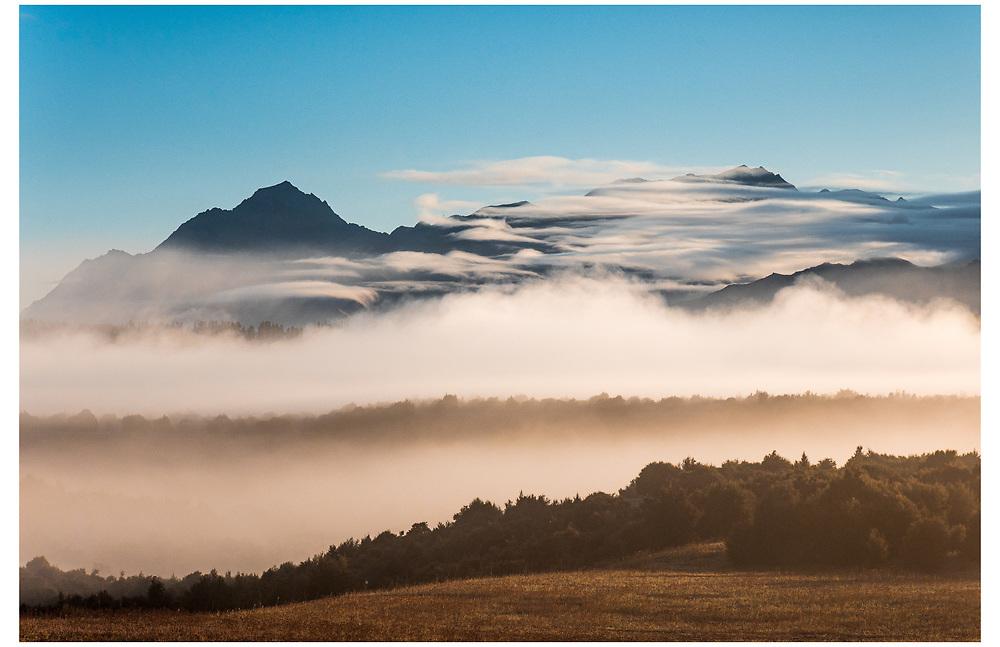 Dingle Peak and Grandview Mountain from the Newcastle track, Wanaka, Otago.