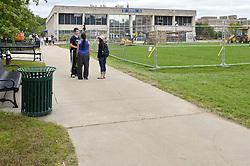 View North-northeast, Sidewalk & Quad. CCSU New Academic Building Construction Progress. Pre-Construction, Shoot 1