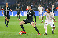 Julian Draxler of Paris Saint-Germain battles with Manchester United Midfielder Fred during the Champions League Round of 16 2nd leg match between Paris Saint-Germain and Manchester United at Parc des Princes, Paris, France on 6 March 2019.