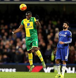 Sebastien Bassong of Norwich City heads the ball - Mandatory byline: Robbie Stephenson/JMP - 07966 386802 - 21/11/2015 - FOOTBALL - Stamford Bridge - London, England - Chelsea v Norwich City - Barclays Premier League