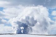 Fountain Geyser in the Lower Geyser Basin erupting during winter