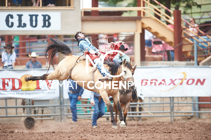 Bareback rider AJ Colletti of Pueblo, CO rides Breezy Weather at the Pikes Peak or Bust Rodeo in Colorado Springs, CO.<br /> <br /> <br /> UNEDITED LOW-RES PREVIEW<br /> <br /> <br /> File shown may be an unedited low resolution version used as a proof only. All prints are 100% guaranteed for quality. Sizes 8x10+ come with a version for personal social media. I am currently not selling downloads for commercial/brand use.