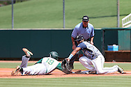 02 June 2016: Cal Poly Pomona's Jared James (19) beats a pickoff attempt tag by Nova Southeastern's Andres Visbal (10) to the bag. The Nova Southeastern University Sharks played the Cal Poly Pomona Broncos in Game 11 of the 2016 NCAA Division II College World Series  at Coleman Field at the USA Baseball National Training Complex in Cary, North Carolina. Nova Southeastern won the semifinal game 4-1 and advanced to the championship series.