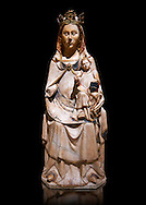 Gothic statue of the Virgin Mary and Child. Polychrome and gold leaf on alabaster. Date - Second half of the 14th century. National Museum of Catalan Art, Barcelona, Spain inv no: 9874