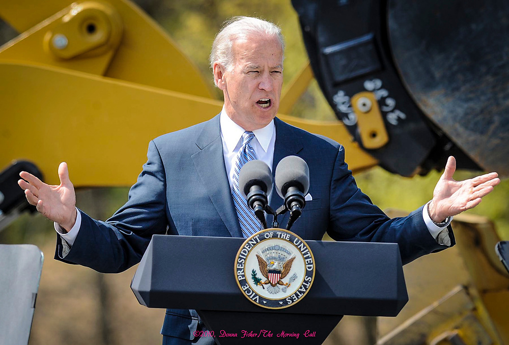 At Lehigh University Vice President Joe Biden addresses the audience on the economy, jobs and stimulus money. Picture made April 15, 2010.<br />  ©2010, Donna Fisher/The Morning Call