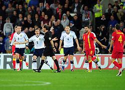 Scotland's Gary Caldwell (Wigan) appeals - Photo mandatory by-line: Joe Meredith/JMP  - Tel: Mobile:07966 386802 12/10/2012 - Wales v Scotland - SPORT - FOOTBALL - World Cup Qualifier -  Cardiff   - Cardiff City Stadium -