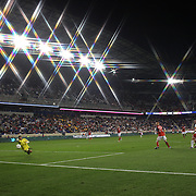 Kenny Cooper, New York Red Bulls has his shot saved by Toronto FC Keeper Freddy Hall during the New York Red Bulls V Toronto FC  Major League Soccer regular season match at Red Bull Arena, Harrison. New Jersey. USA. 29th September 2012. Photo Tim Clayton