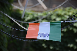 August 15, 2017 - Srinagar, India - Flag hoisting done at BJP Headquarter Jawaharnagar Srinagar on the eve of 71st Independence Day. After Flag Hoisting and National Anthem sweets were distributed as mark of Joy and slogans (Azad Hindustan Zindabad) were raised on the occasion. (Credit Image: © Abbas Idrees/Pacific Press via ZUMA Wire)