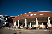 An exterior view of Durant High School in Durant, Oklahoma on January 27, 2017.  (Cooper Neill for The New York Times)