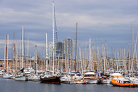 Spain, Barcelona. Port Vell is a waterfront harbour, built prior to the 1992 Barcelona Olympics.