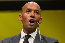 Bournemouth, UK. 15 September, 2019. Chuka Umunna, Liberal Democrat MP for Streatham, speaks on the Stop Brexit motion during the Liberal Democrat Autumn Conference. Following a vote won by an overwhelming majority, the Liberal Democrats pledged to cancel Brexit if they win power at the next general election. This marks a shift in policy from their previous backing for a People's Vote. Credit: Mark Kerrison/Alamy Live News