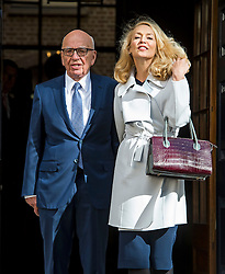 © Licensed to London News Pictures. 04/03/2016. London, UK.  Rupert Murdoch and Jerry Hall leave Spencer house in central London after getting married on February 04, 2016. The couple, who announced their engagement in January, are due to have a private ceremony today, with a public service expected at Fleet Street's St Bride's Church on Saturday. Photo credit: Ben Cawthra/LNP