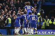 Willian of Chelsea (hidden)  celebrates with his teammates scoring his sides 2nd goal. Premier league match, Chelsea v Stoke city at Stamford Bridge in London on Saturday 31st December 2016.<br /> pic by John Patrick Fletcher, Andrew Orchard sports photography.