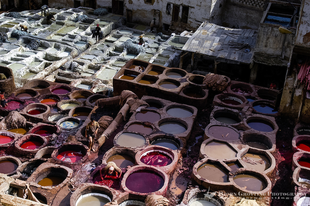 Morocco. Leather tanning in Fes, a very strong smell rises from the area. The medina in Fes, Fes el Bali, is on UNESCO's World Heritage Site list.