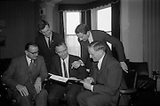 29/04/1965<br /> 04/29/1965<br /> 29 April 1965<br /> Planning for Junior Chamber of Commerce Convention. A final meeting of the planning committee of the 3 day Junior Chambers of Commerce 6th National Convention took place at the International Hotel, Bray Co. Wicklow the venue for the convention. The convention was to be addressed by Taoiseach  Sean Lemass and attended by 250 delegates from Ireland and continental countries. Picture shows: Mr. John Hegarty  (centre), Convention Director, discussing arrangements with Mr Michael W. O'Reilly jr. (left) President Dublin Chamber of Commerce; Mr P.M. O'Beirne, (2nd left), Registrar; Mr David Corrigan (4th left) Honorary Secretary, Dublin Junior Chamber of Commerce and J.H. O'Reilly (right) Director, John Power and Son, sponsors of the Convention at the International Hotel.