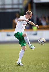 Hibernian's David Gray.<br /> Alloa Athletic 2 v 1 Hibernian, Scottish Championship game played 30/8/2014 at Alloa Athletic's home ground, Recreation Park, Alloa.