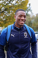 AFC Wimbledon defender Paul Kalambayi (30) arriving during the EFL Sky Bet League 1 match between AFC Wimbledon and Lincoln City at the Cherry Red Records Stadium, Kingston, England on 2 November 2019.