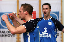 Andrej Kovacic and Andrej Berdon of Salonit at 4th and final match of Slovenian Voleyball  Championship  between OK Salonit Anhovo (Kanal) and ACH Volley (from Bled), on April 23, 2008, in Kanal, Slovenia. The match was won by ACH Volley (3:1) and it became Slovenian Championship Winner. (Photo by Vid Ponikvar / Sportal Images)/ Sportida)