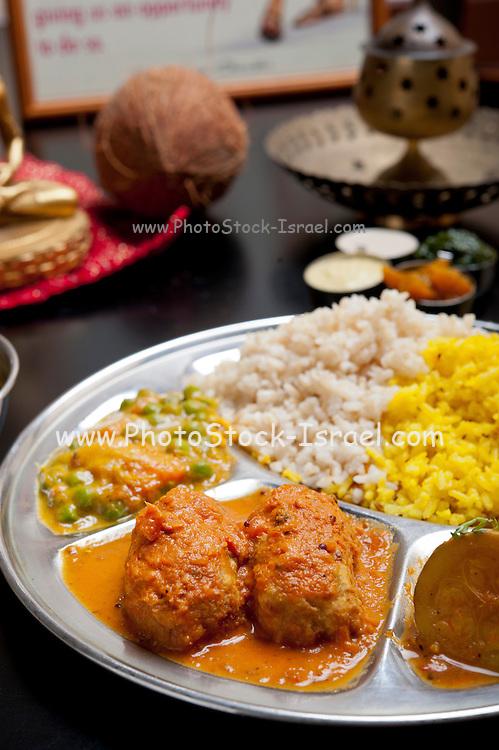 Indian Ethnical Food  Keema Kofta with vegetables and rice