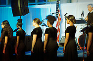 Garden City, New York, U.S. November 14, 2019. Freeport High School Select Chorale members perform during the 17th Annual Cradle of Aviation Museum Air and Space Gala. The event helped support the development of new activities and educational programs, and honor the innovations of leaders in aviation, technical achievement, and leadership.