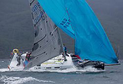Clyde Cruising Club's Scottish Series 2019<br /> 24th-27th May, Tarbert, Loch Fyne, Scotland<br /> <br /> Day 2 Wet & Wild on Loch Fyne<br /> <br /> GRB9887T, No Worries, Tees and Hartlepool, J109<br /> <br /> Credit: Marc Turner / CCC