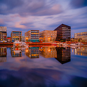 www.aziznasutiphotography.com                                         Picture hasbeen taken at 00:47 AM. Brattøra is an artificial island in the city of Trondheim in Trøndelag county, Norway. The 0.485-square-kilometre island is located at the mouth of the river Nidelva just north of the city centre, west of Nyhavna, and south of Trondheimsfjord.