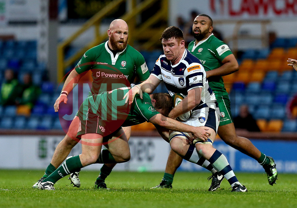 Ollie Stedman of Yorkshire Carnegie is tackled - Mandatory by-line: Robbie Stephenson/JMP - 17/05/2017 - RUGBY - Headingley Carnegie Stadium - Leeds, England - Yorkshire Carnegie v London Irish - Greene King IPA Championship Final 1st Leg