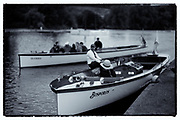 Henley on Thames, United Kingdom. 2016 Henley Masters' Regatta. Henley Reach. England. on Saturday  09/07/2016    [Mandatory Credit/ © Peter SPURRIER]<br /> <br /> Umpires Launch, Driver and Umpire in the marshalling area Rowing, Henley Reach, Henley Masters' Regatta.<br /> <br /> <br /> General View,  Henley Reach, venue, for the 2016 Henley Masters Regatta.<br /> <br /> NIKON CORPORATION  NIKON D810  f1.6  1/8000sec  85mm  16.5MB