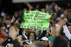Philadelphia Eagles fans hold a Sunday Night Football sign during the NFL football game between the New York Giants and the Philadelphia Eagles on Sunday, September 30th 2012 in Philadelphia. The Eagles won 19-17. (Photo by Brian Garfinkel)
