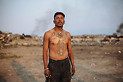 Portrait of a man who works like scavenger in the garbage dump in Ciudad Nezahualcoyotl, January 20, 2012.