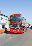 Ipswich Reds double decker Volvo service bus 32654, Aldeburgh, Suffolk, England, UK