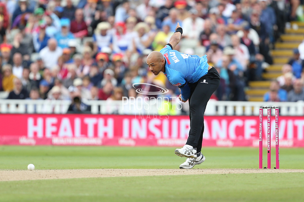 Sussex's Tymal Mills during the Vitality T20 Finals Day semi final 2018 match between Sussex Sharks and Somerset at Edgbaston, Birmingham, United Kingdom on 15 September 2018.