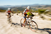 Ariane Kleinhans (front) and Annika Langvad of Team RECM2 blew the field away during stage 5 of the 2014 Absa Cape Epic Mountain Bike stage race held from The Oak Estate in Greyton to Oak Valley Wine Estate in Elgin, South Africa on the 28 March 2014<br /> <br /> Photo by Greg Beadle/Cape Epic/SPORTZPICS