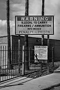 Entry to Mexico. U.S Customs and Border Agency sign. Roma, Texas, USA.