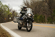 Bill Dragoo carving corners on his 2011 BMW R1200 GS Adventure on Oklahoma State Highway 20 north of Spavinaw.