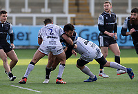 Rugby Union  - 2020 / 2021 Gallagher Premiership - Newcastle Falcons vs Gloucester - Kingston Park<br /> <br /> Matias Orlando of Newcastle Falcons is tackled by James Hanson of Gloucester Rugby and Matt Garvey of Gloucester Rugby<br /> <br /> COLORSPORT/BRUCE WHITE