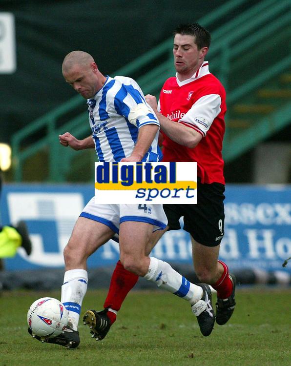 Photo: Scott Heavey<br />Brighton & Hove Albion V Rotherham United. 08/03/03  Nationwide Div 1 <br /><br />Danny Cullip of Brighton (left) blocks Alan Lee from the ball