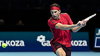Tennis - 2017 Nitto ATP Finals at The O2 - Day Six<br /> <br /> Group Pete Sampras Singles: Dominic Thiem (Austria) Vs David Goffin (Belguim)<br /> <br /> Dominic Thiem (Austria) prepares to strike his back hand return at the O2 Arena <br /> <br /> <br /> COLORSPORT/DANIEL BEARHAM