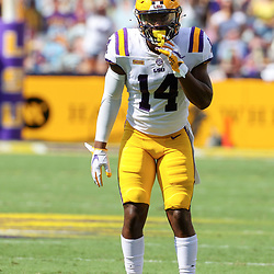 Sep 26, 2020; Baton Rouge, Louisiana, USA; LSU Tigers safety Maurice Hampton Jr. (14) against the Mississippi State Bulldogs during the first half at Tiger Stadium. Mandatory Credit: Derick E. Hingle-USA TODAY Sports