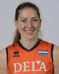 21-05-2014 NED: Selectie Nederlands volleybal team vrouwen, Arnhem<br /> Op Papendal werd het Nederlands team volleybal seizoen 2014-2015 gepresenteerd /Carlijn Ghijssen Jans