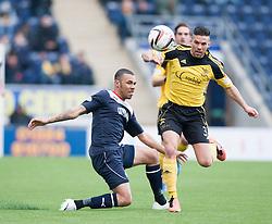 Falkirk's Phil Roberts and  Livingston Jason Talbot.<br /> Falkirk 1 v 1 Livingston, Scottish Championship game today at The Falkirk Stadium.<br /> © Michael Schofield.