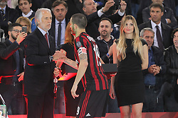 May 9, 2018 - Rome, Lazio, Italy - Leonardo Bonucci (AC Milan) captain of the losing team, receives the silver medal from the President of CONI Giovanni Malag after the final match of Italian Cuo lost against Juventus  at Stadio Olimpico on May 09, 2018 in Rome, Italy. Juventus won 4-0 over Milan. (Credit Image: © Massimiliano Ferraro/NurPhoto via ZUMA Press)