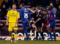 Photo: Alan Crowhurst.<br />Crystal Palace v Cardiff City. Coca Cola Championship. 04/02/2006. <br />Fitz Hall (25) is sent off for abusive language by referee Mr A Bates.