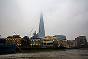The Shard in London, United Kingdom, overlooking the south bank of the River Thames. The buildings seen at the riverside are Hay's Galleria shopping centre and London Bridge hospital.  (photo by Andrew Aitchison / In pictures via Getty Images)